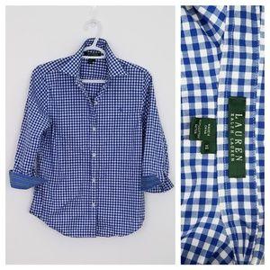 New Lauren Ralph Lauren Gingham Button Down Shirt